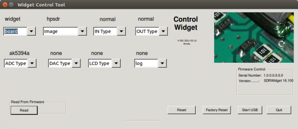 Configuration of SDR-widget hardware.