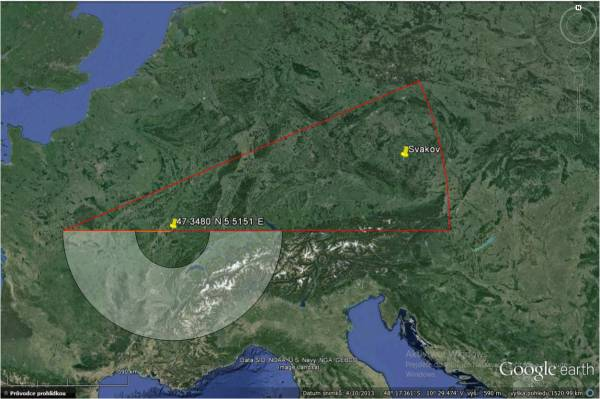 GRAVES Radar radiatin pattern projection in 100km above Earth surface and theoretical visibility radius